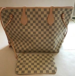 Louis Vuitton Neverfull Azur Tote Bag 2pcs set